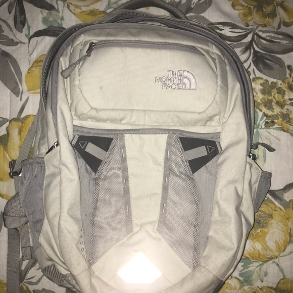 f2f17d956 North Face Backpack (grey and cream color)